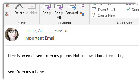 Unformatted email