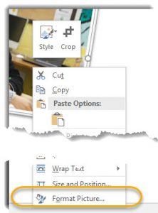 RIght click menu, format picture