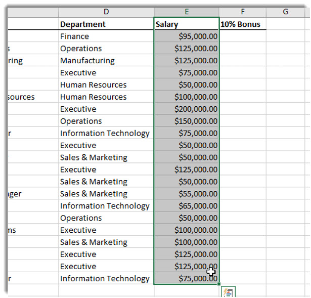 Selected Salary column data