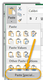 Paste Special Dropdown