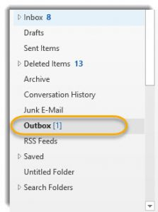 Outlook folder,s Outbox circled