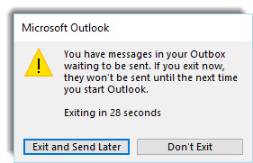 Warning message that there are messages in outbox