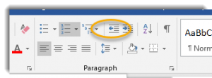 Left Arrow in Paragraph group