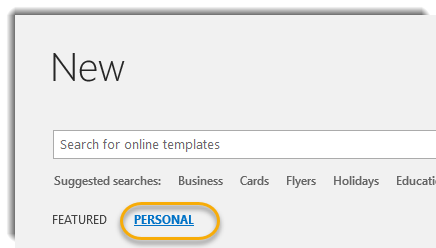 Personal Templates button