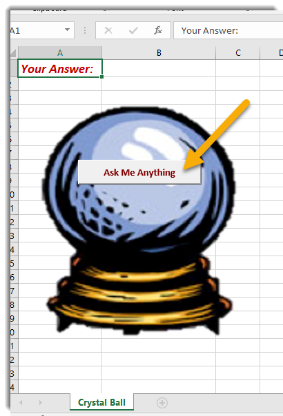Crystal ball, with arrow pointing to Ask Me Anything button