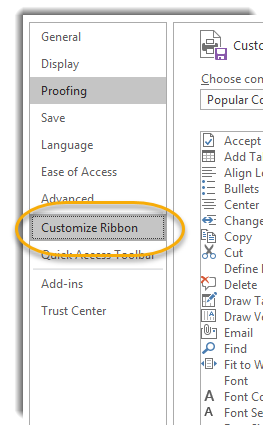 Customize Ribbon highlighted