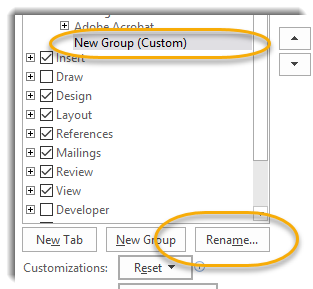 New group, rename button circled