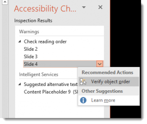 Selection Pane in Accessibility Checker