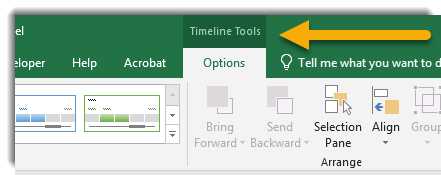 Timeline Tools contextual tab