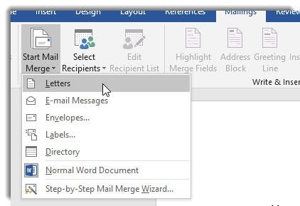 Start Mail Merge dropdown, Letters selected