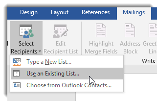 Select recipients dropdown, Use an existing list selected