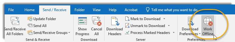 Outlook Send/Receive tab, Work Offline selected