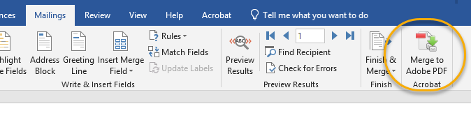 Mailings tab, Merge to Adobe PDF circled