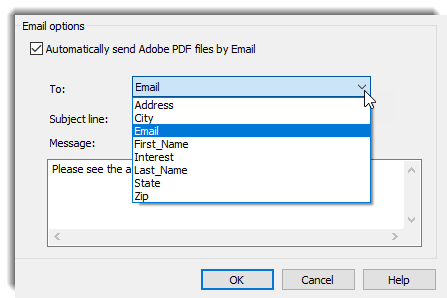 Automatically send Adobe PDF files by Email box checked. Email selected from dropdown.
