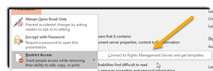 Powerpoint restrict access options, prompting users to Connect to Rights Management Servers