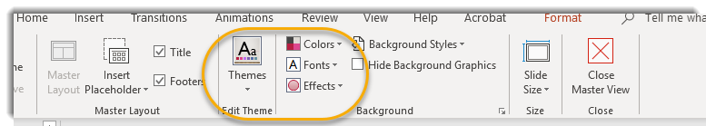 Themes, Colors, Fonts on Master Slide View