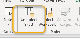 Unprotect Sheet button