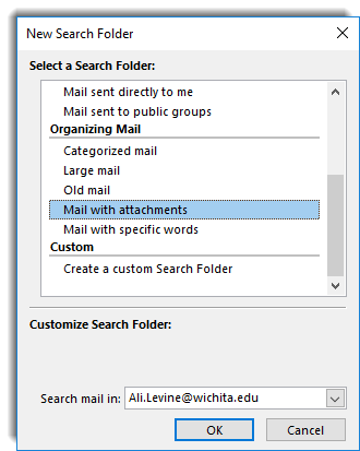New Search folder view, mail with attachments selected.