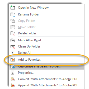Right click menu, add to favorites circled