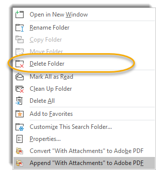 right click menu, delete folder circled.