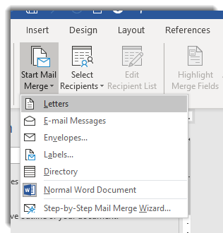 Start Mail Merge dropdown