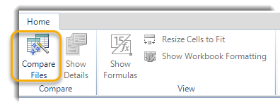 Compare files button in the ribbon