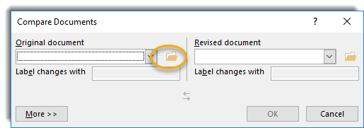 Compare documents screen, folder icon circled