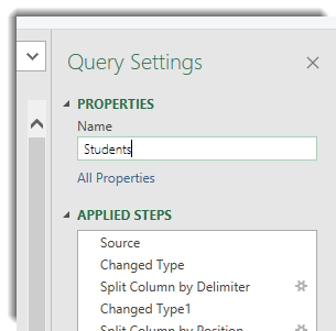 Query Properties, Name of Students entered.