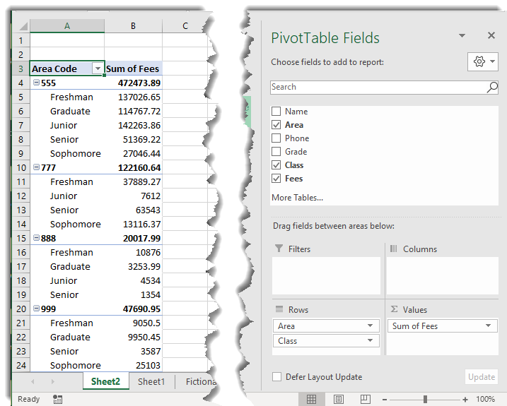 Pivot table by area code and class, calculating fees.