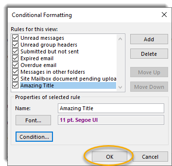 Conditional formatting screen, OK button circled