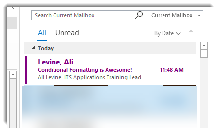Inbox shows email from Ali Levine with purple font