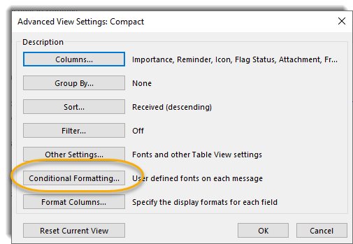 Advanced view settings screen, conditional formatting button