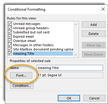 font button in conditional formatting popup