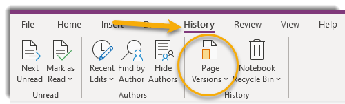 History Tab, Page Versions
