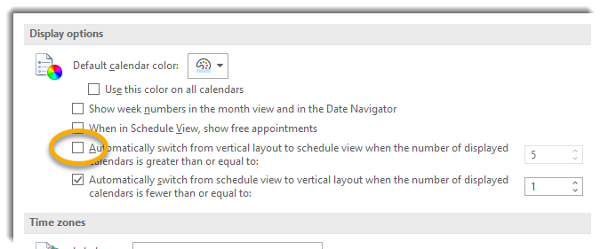 Display options, box unchecked next to automatically switch to Schedule View feature