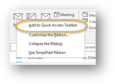Right click menu when right clicking on object in the ribbon: Add to quick access toolbar circled