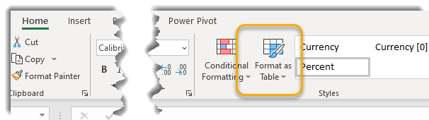Format as Table circled in ribbon