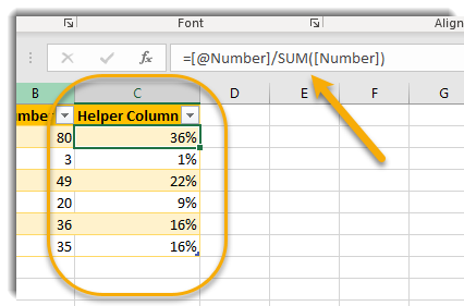 Helper Column with formula for percent as described