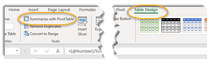 Table design tab, summarize with pivot table circled