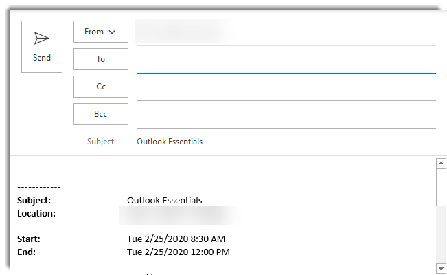 Email created from calendar drag and drop