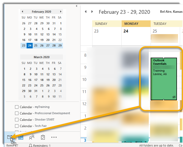 Drag and drop calendar event to email naviagation to create new email