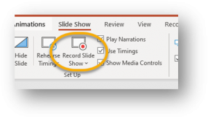 Slide show tab, Record Slide Show circled