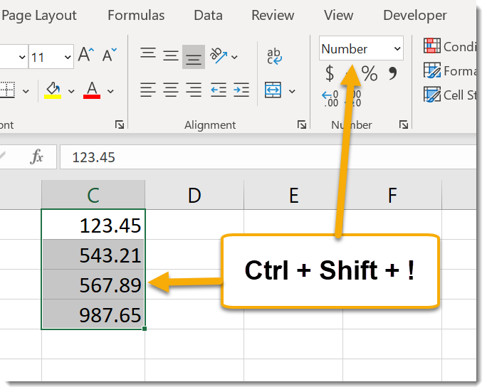 Ctrl + Shift + ! to apply number format