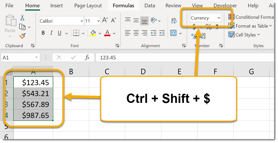 Ctrl + Shift + $ to apply currency format
