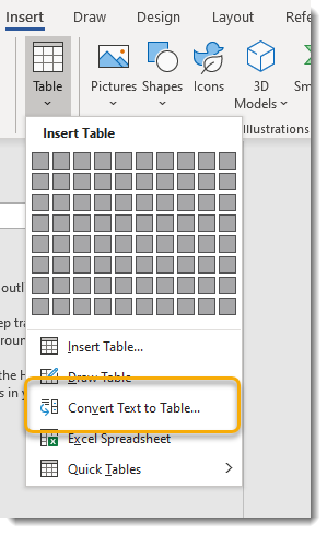 Insert tab, Table dropdown, Convert Text to Table