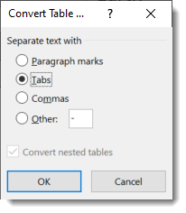 Convert table menu