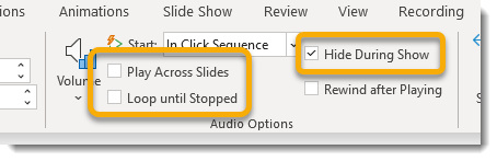 Playback tab, audio options group
