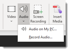 Audio dropdown, audio on my pc and record audio options