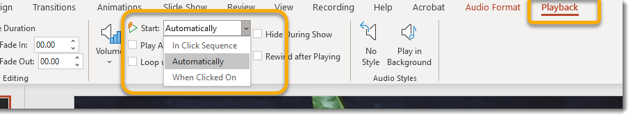 Playback contextual tab, start dropdown
