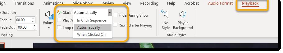 Playback contextual tab, start dropdown